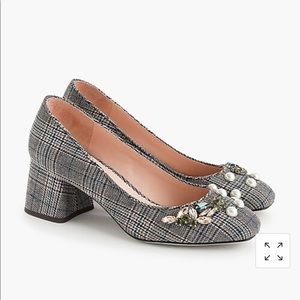 J.Crew Block heel pumps in embellished plaid